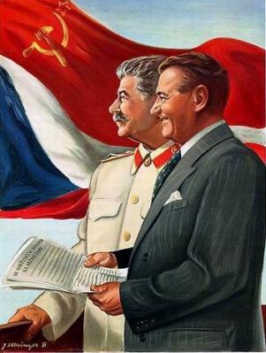 Stalin en Gottwald, poster