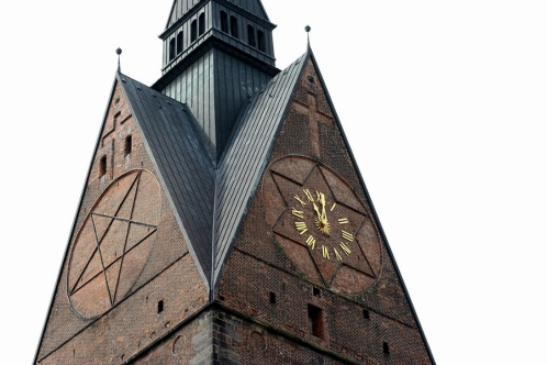 Hannover, Marktkirche, pentagram en hexagram (apotropaia)