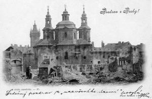 Praag, het afgebroken Sint-Nikolaasklooster